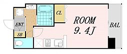 Osaka Metro谷町線 野江内代駅 徒歩5分の賃貸マンション 3階ワンルームの間取り