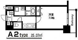 アーバンパーク梅田ウエスト 9階1Kの間取り