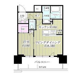 東京モノレール 天王洲アイル駅 徒歩5分の賃貸マンション 7階1LDKの間取り