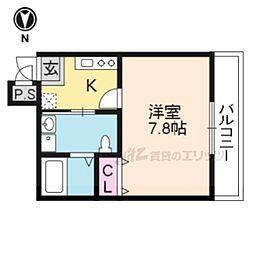 リヴェール京都三条 3階1Kの間取り