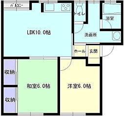 秋田県大仙市花館上町の賃貸アパートの間取り