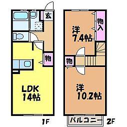 [テラスハウス] 愛媛県松山市古川北4丁目 の賃貸【/】の間取り