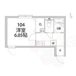 都営大江戸線 中野坂上駅 徒歩6分の賃貸アパート 1階1Kの間取り