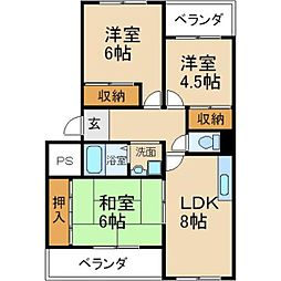 大阪府枚方市香里ケ丘12丁目の賃貸マンションの間取り