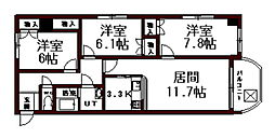 グランメゾン東札幌[207号室]の間取り