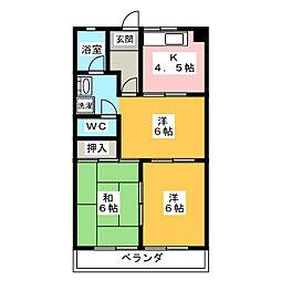 レジデントリバティー[3階]の間取り
