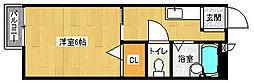 京都府京都市上京区藪之下町の賃貸アパートの間取り