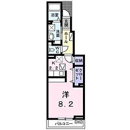 愛知県名古屋市天白区中坪町の賃貸アパートの間取り
