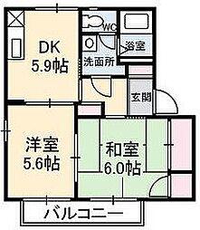 岡山県赤磐市桜が丘西6丁目の賃貸アパートの間取り