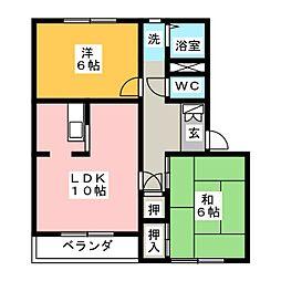 愛知県長久手市作田2丁目の賃貸アパートの間取り