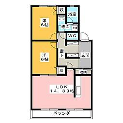 シャトー清城[3階]の間取り