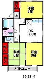 福岡県小郡市横隈の賃貸アパートの間取り