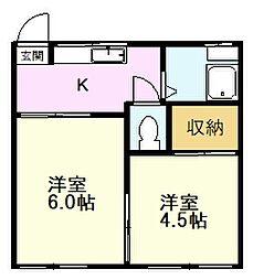 コーポ冨久屋 2階2Kの間取り
