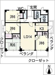 ハイツトキ[3階]の間取り