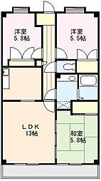 サンリットマンション[406号室]の間取り