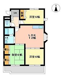 愛知県名古屋市中川区元中野町3丁目の賃貸マンションの間取り