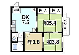 奈良県奈良市二条町1丁目の賃貸アパートの間取り