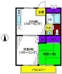 フラワーハイツB[2階]の間取り