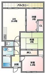 大阪府門真市北岸和田3丁目の賃貸マンションの間取り