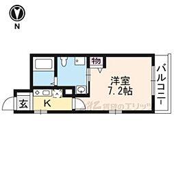 近鉄京都線 東寺駅 徒歩6分の賃貸マンション 3階1Kの間取り
