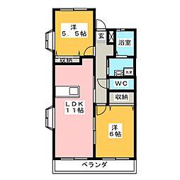 コンフォート宮子[1階]の間取り