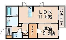 シャーメゾン吉礼 2階1LDKの間取り