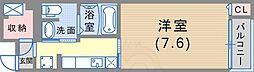 阪神本線 魚崎駅 徒歩12分の賃貸マンション 4階1Kの間取り