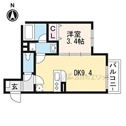 阪急京都本線 桂駅 徒歩4分の賃貸マンション 1階1DKの間取り