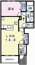 兵庫県姫路市飾磨区今在家7丁目の賃貸アパートの間取り
