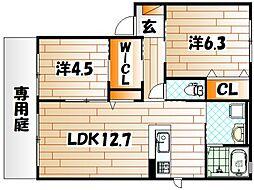クラヴィエ赤坂A棟[2階]の間取り