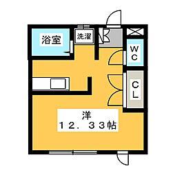 ヴィクトリーハイツ八斗島 1階ワンルームの間取り