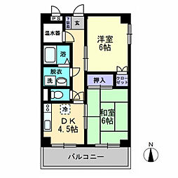 津山マンション[701号室]の間取り