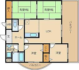 タウンコート 咲久良/サクラ[805号室]の間取り