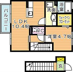 福岡県北九州市若松区東二島4丁目の賃貸アパートの間取り