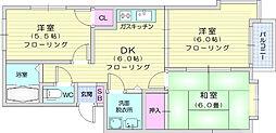 ロイヤルシティ石田弐番館 2階3DKの間取り