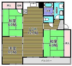 ヴェストーム北野田 4階3LDKの間取り