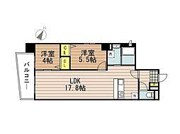 JR京浜東北・根岸線 さいたま新都心駅 徒歩10分の賃貸マンション 4階2LDKの間取り