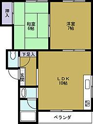 第3向和マンション[2階]の間取り