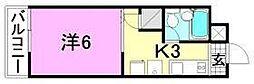 リベラル萱町[203号室]の間取り