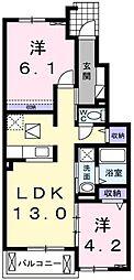 埼玉県越谷市花田3丁目の賃貸アパートの間取り
