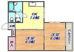 兵庫県神戸市灘区桜ケ丘町の賃貸マンションの間取り