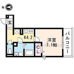 叡山電鉄叡山本線 一乗寺駅 徒歩4分の賃貸アパート 3階1Kの間取り