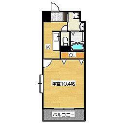 ユースロードヤマサキ[401号室]の間取り