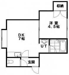 グローリィマンション 2階1DKの間取り
