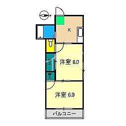当田ハイツ[3階]の間取り