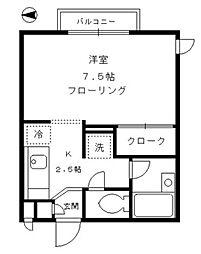 東京都大田区池上1丁目の賃貸アパートの間取り