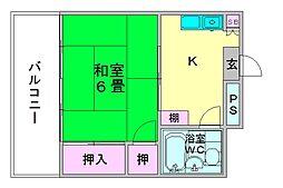 ホワイトマンション西新[5階]の間取り