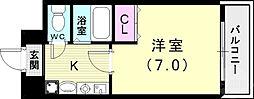 バッハレジデンス神戸ウエスト 5階1Kの間取り