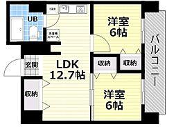 Osaka Metro四つ橋線 肥後橋駅 徒歩5分の賃貸マンション 8階2LDKの間取り