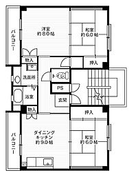 神奈川県平塚市下島の賃貸マンションの間取り